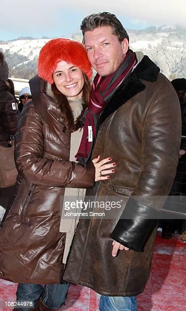 German actor Hardy Krueger Jr and Katrin Fehringer attend the Hahnenkamm race on January 22 2011 in Kitzbuehel Austria
