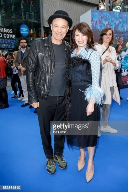German actor Heiner Lauterbach and german actress Iris Berben during the 'Die Schluempfe Das verlorene Dorf' premiere at Sony Centre on April 2 2017...