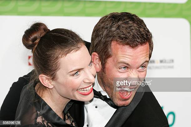 German actor Jan Hartmann and his wife Julia Hartmann attend the Green Tec Award at ICM Munich on May 29 2016 in Munich Germany