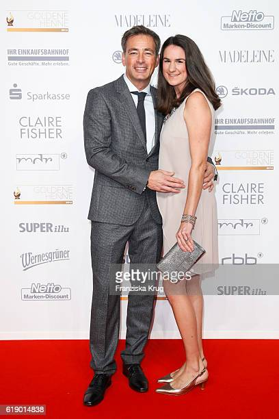 German actor Jan Sosniok and his wife Nadine Moellers attend the Goldene Henne on October 28 2016 in Leipzig Germany