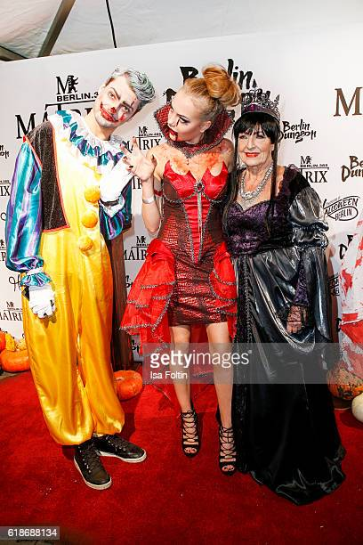 German actor Jimi Blue Ochsenknecht hist sister Cheyenne Savannah Ochsenknecht and their grandmother Baerbel Wierichs attend the Halloween party by...
