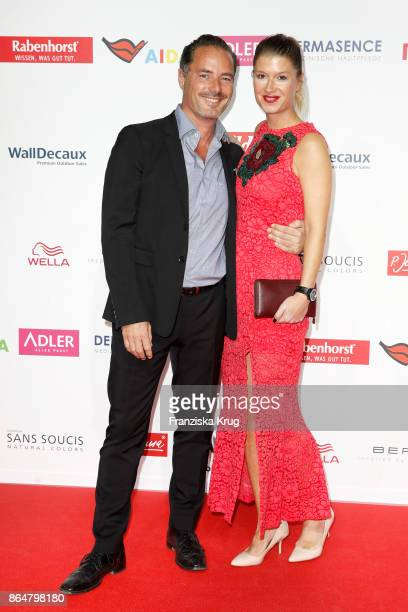 German actor John Friedmann and his partner Tini Fuchs attend the 'Goldene Bild der Frau' award at Hamburg Cruise Center on October 21 2017 in...