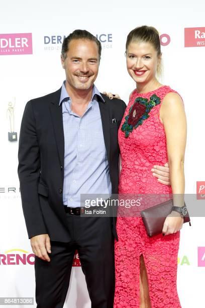 German actor John Friedmann and his partner Tini Fuchs attends the 'Goldene Bild der Frau' award at Hamburg Cruise Center on October 21 2017 in...