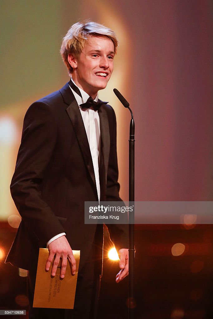 German actor <a gi-track='captionPersonalityLinkClicked' href=/galleries/search?phrase=Louis+Hofmann&family=editorial&specificpeople=7307522 ng-click='$event.stopPropagation()'>Louis Hofmann</a> (Jaeger-LeCoultre watch) during the Lola - German Film Award (Deutscher Filmpreis) 2016 - Show on May 27, 2016 in Berlin, Germany.