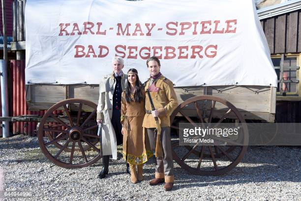 German actor Mathieu Carriere german actress Sila Sahin and german singer Alexander Klaws attend the 'Old Surehand' photo call for the Karl May...