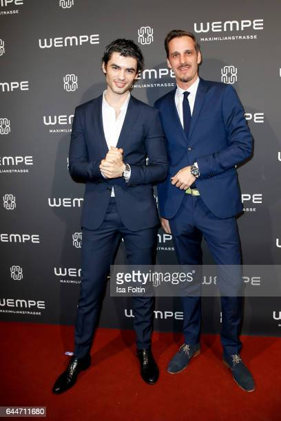 German actor Nik Xhelilaj and german actor Max von Thun attend the Wempe store opening with the Rolls Royce shuttels in front of the store on...