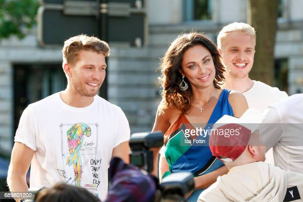 German actor Raul Richter Lilly Becker and model Mario Galla attend the 'Global Gladiators' exclusive preview at Astor Film Lounge on May 29 2017 in...