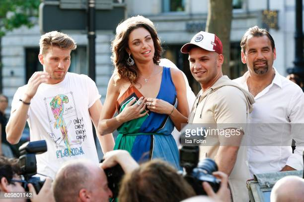 German actor Raul Richter Lilly Becker German singer Pietro Lombardi and former DDR soccer player Ulf Kirsten attend the 'Global Gladiators'...