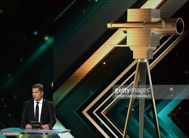 German actor Til Schweiger announces Scottish actor Gerard Butler as Best International actor at the Golden Camera awards in Hamburg northern Germany...