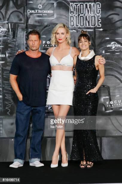 German actor Til Schweiger US actress Charlize Theron and US actress Sofia Boutella attend the 'Atomic Blonde' World Premiere at Stage Theater on...