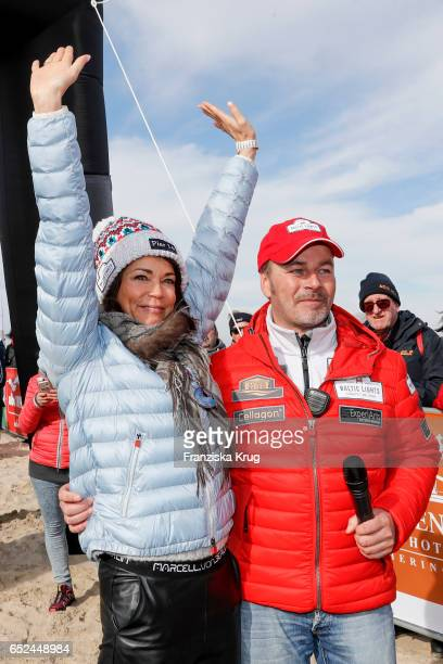 German actor Till Demtroeder with german actress Gerit Kling on March 12 2017 after her accident on March 11 during the 'Baltic Lights' sled dog race...