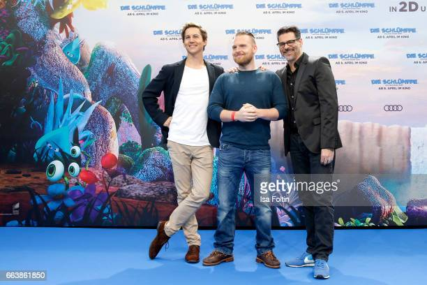 German actor Tim Oliver Schultz german actor Axel Stein and german actor and comedian Rick Kavanian during the 'Die Schluempfe Das verlorene Dorf'...