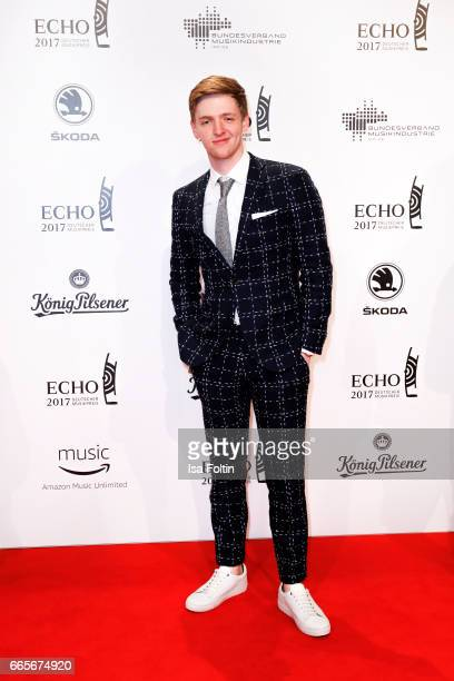 German actor Timur Bartels during the Echo award red carpet on April 6 2017 in Berlin Germany