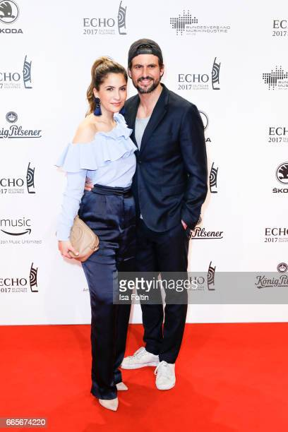 German actor Tom Beck and his girlfriend Chryssanthi Kavazi during the Echo award red carpet on April 6 2017 in Berlin Germany