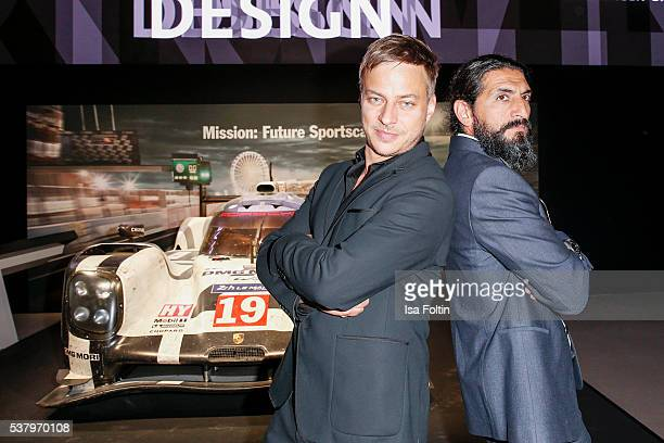 German actor Tom Wlaschiha suit shirt shoes belt and watch by Porsche Design and german actor Numan Acar suit shirt watch Aviator by Porsche Design...