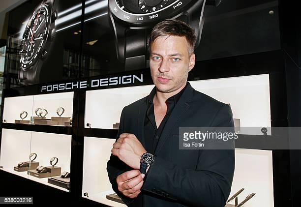 German actor Tom Wlaschiha suit shirt shoes belt and watch by Porsche Design attends the 5th Nachtschicht Berlin Design Night on June 3 2016 in...
