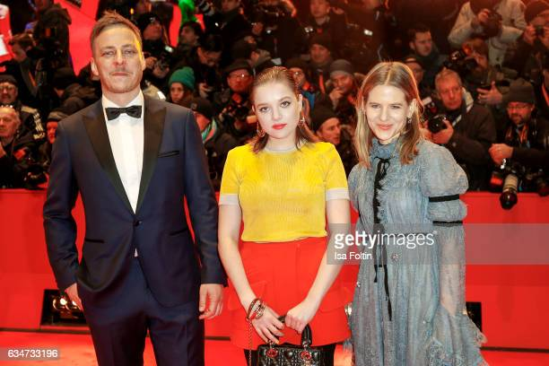 German actor Tom Wlaschiha german actress Jella Haase and german stage designer Aino Laberenz attend the 'Django' premiere during the 67th Berlinale...