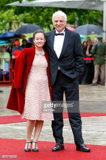 German actor Udo Wachtveitl and his girlfriend Lila Schulz attend the Bayreuth Festival 2017 Opening on July 25 2017 in Bayreuth Germany