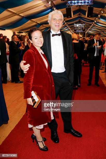 German actor Udo Wachtveitl and his partner Lila Schulz during the Bayreuth Festival 2017 State Reception at Neues Schloss on July 25 2017 in...