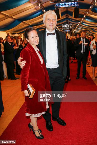 German actor Udo Wachtveitl and his partner Lila Schulz during the Bayreuth Festival 2017 State Reception on July 25 2017 in Bayreuth Germany