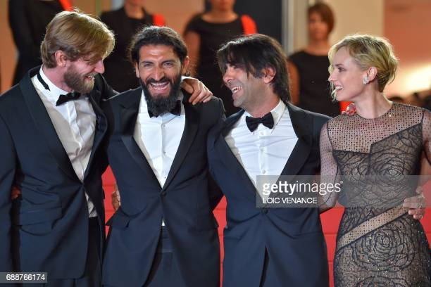 German actor Ulrich Brandhoff German actor Numan Acar German director Fatih Akin and German actress Diane Kruger pose as they arrive on May 26 2017...