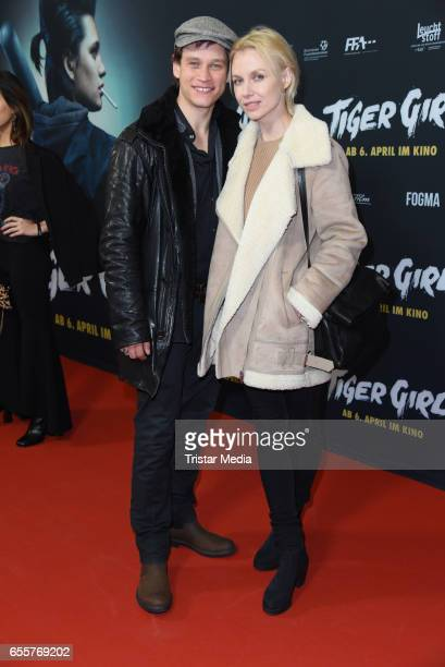 German actor Vinzenz Kiefer and his wife Masha Tokareva attend the premiere of the film 'Tiger Girl' at Zoo Palast on March 20 2017 in Berlin Germany