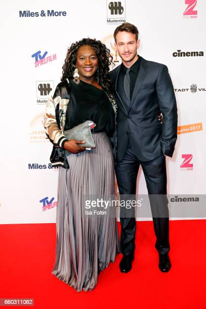 German actor Vladimir Burlakov and his girlfriend german actress Thelma Buabeng attend the Jupiter Award at Cafe Moskau on March 29 2017 in Berlin...