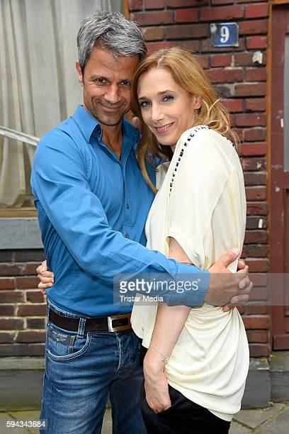 German actors Jens Hajek and Kristin Meyer during the Daily Soap 'Unter uns' Summer Event Fan Meeting on August 22 2016 in Cologne Germany