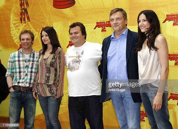 German actors Ralf Schmitz and Cosma Shiva Hagen US Actor Jack Black German actors Hape Kerkeling and Bettina Zimmermann attend the 'Kung Fu Panda 2'...