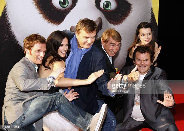 German actors Ralf Schmitz Bettina Zimmermann Hape Kerkeling Gottfried John US actor Jack Black and German actress Cosma Shiva Hagen attend the 'Kung...
