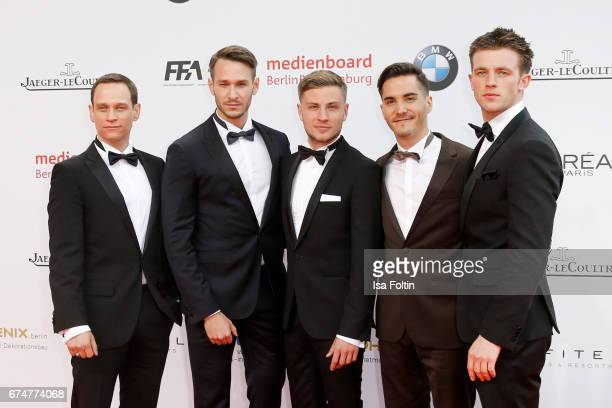 German actors Vinzenz Kiefer Vladimir Burlakov Jannik Schuemann Francois Goeske and Jannis Niewoehner during the Lola German Film Award red carpet...
