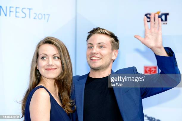 German actress Alice Dwyer and German actor Jannik Schuemann attend the summer party 2017 of the German Producers Alliance on July 12 2017 in Berlin...