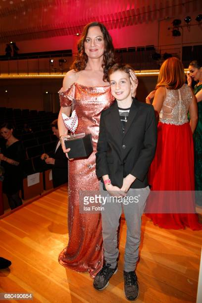 German actress and award winner Natalia Woerner and her son JacobLee Woerner during the Victress Awards Gala on May 8 2017 in Berlin Germany