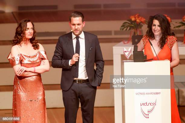 German actress and award winner Natalia Woerner german presenter Matthias Killing and Sonja Fusati during the Victress Awards Gala on May 8 2017 in...