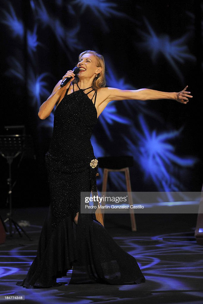 German actress and dancer Ute Lemper performs during the 41º Edition of the International Guanajuato Cervantino Festival on October 15, 2013 in Guanajuato, Mexico.