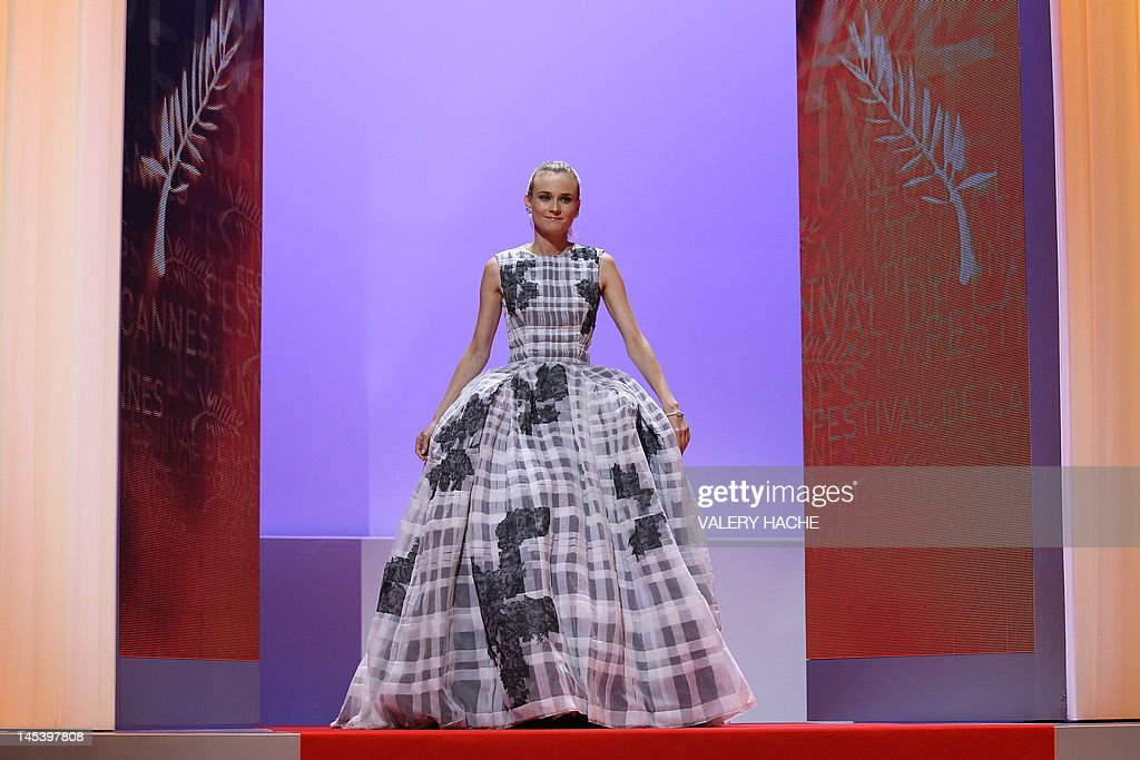 German actress and member of the Jury Diane Kruger arrives on stage during the closing ceremony of the 65th Cannes film festival on May 27, 2012 in Cannes.