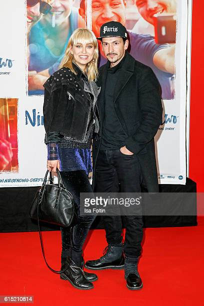 German actress and model Caro Cult and german actor Arnel Taci attend the German premiere of the film 'Nirgendwo' at Cubix Alexanderplatz on October...