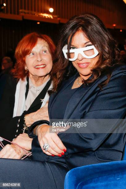 German actress and producer Brigitte Grothum and producer Alice Brauner attend the Deutscher Hoerfilmpreis at Kino International on March 21 2017 in...