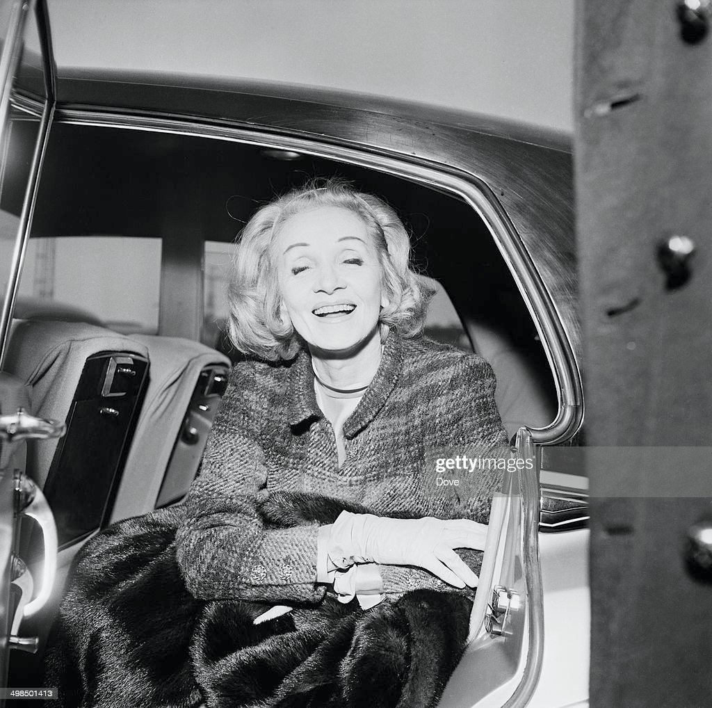 German actress and singer <a gi-track='captionPersonalityLinkClicked' href=/galleries/search?phrase=Marlene+Dietrich&family=editorial&specificpeople=70018 ng-click='$event.stopPropagation()'>Marlene Dietrich</a> (1901 - 1992) arrives at London Airport, 21st November 1964. She is there to welcome American composer Burt Bacharach to the UK.