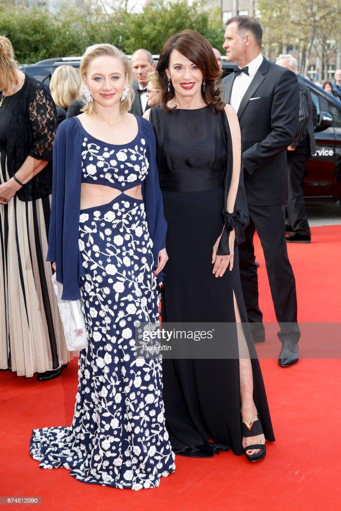 German actress Anna Maria Muehe and german actress Iris Berben during the Lola - German Film Award red carpet arrivals at Messe Berlin on April 28, 2017 in Berlin, Germany.