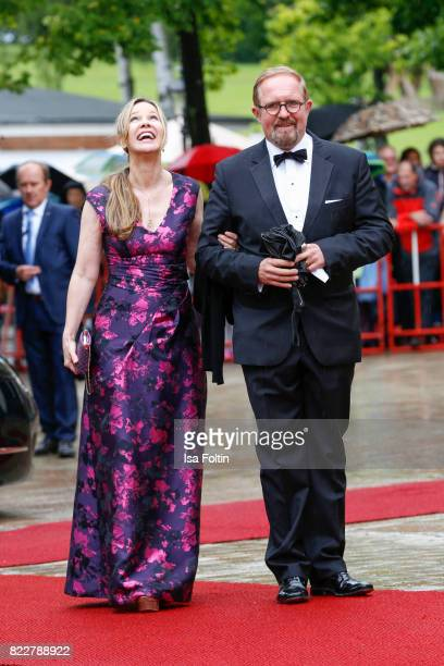 German actress AnnKathrin Kramer and her husband German actor Harald Krassnitzer attend the Bayreuth Festival 2017 Opening on July 25 2017 in...