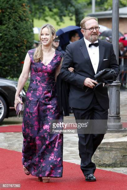 German actress AnnKathrin Kramer and her husband Harald Krassnitzer attend the Bayreuth Festival 2017 Opening on July 25 2017 in Bayreuth Germany