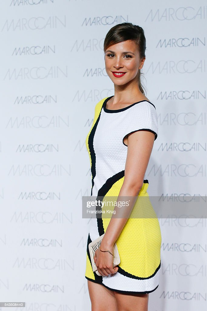 German actress <a gi-track='captionPersonalityLinkClicked' href=/galleries/search?phrase=Aylin+Tezel&family=editorial&specificpeople=2348122 ng-click='$event.stopPropagation()'>Aylin Tezel</a> attends the Marc Cain fashion show spring/summer 2017 at CITY CUBE Panorama Bar on June 28, 2016 in Berlin, Germany.