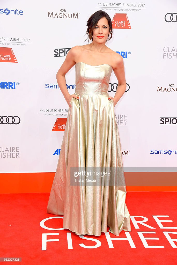 German actress Bettina Zimmermann (wearing a dress designed by Minx) attends the German Film Ball 2017 at Hotel Bayerischer Hof on January 21, 2017 in Munich, Germany.