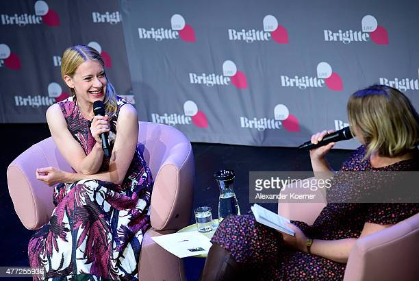 German actress Caroline Peters and Stefanie Hentschel are pictured during the 'Brigitte Live Gespraech mit Caroline Peters' talk at Kammerspiele...