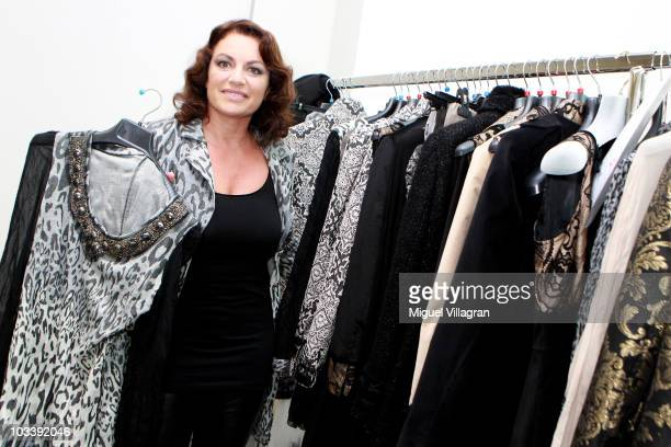 German actress Christine Neubauer poses backstage during the fashion show of the Christine Neubauer Limited Edition By Schiffhauer Munich on August...