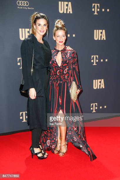 German actress Claudelle Deckert and German actress Isabell Hertel attend the UFA 100th anniversary celebration at Palais am Funkturm on September 15...