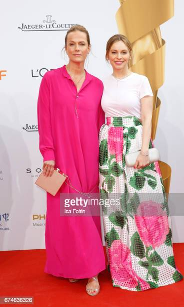 German actress Claudia Michelsen and german actress Mina Tander during the Lola German Film Award red carpet arrivals at Messe Berlin on April 28...