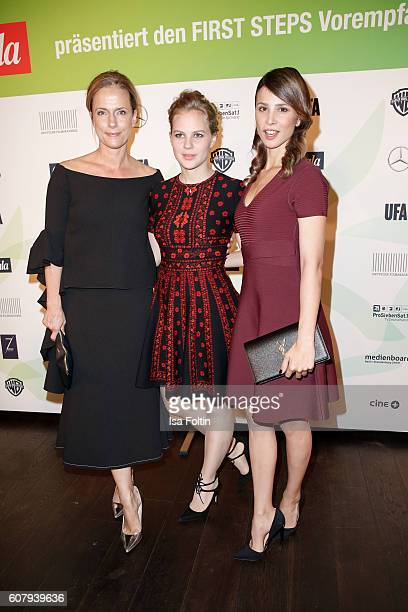 German actress Claudia Michelsen german actress Alicia von Rittberg and german actress Aylin Tezel attend the First Steps Awards 2016 at Stage...