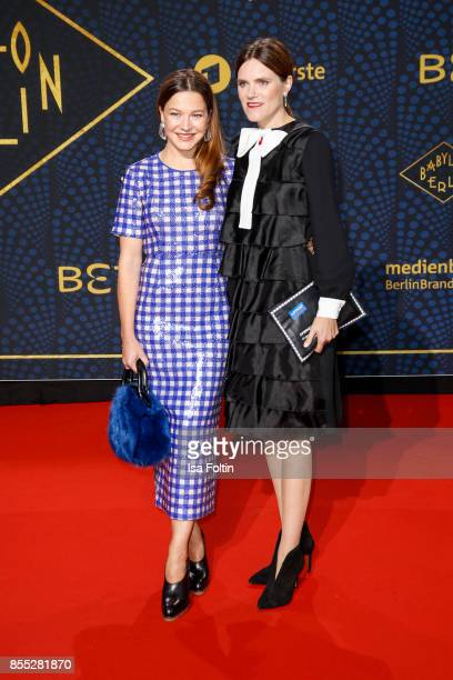 German actress Hannah Herzsprung and German actress Fritzi Haberlandt attend the 'Babylon Berlin' Premiere at Berlin Ensemble on September 28 2017 in...
